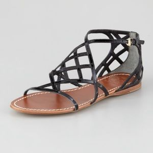 Tory Burch Amalie black leather flat sandal size 6